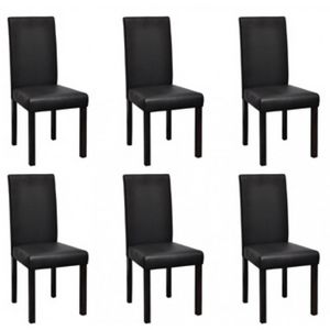 WHITE LABEL - 6 chaises de salle a manger noires - Chaise