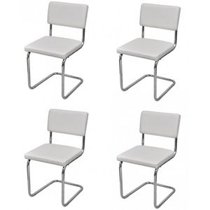 WHITE LABEL - 4 chaises de salle a manger blanches - Chaise
