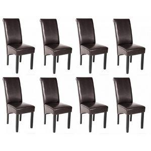WHITE LABEL - 8 chaises de salle à manger marron - Chaise