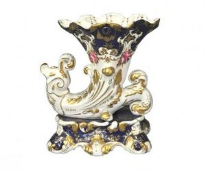 Demeure et Jardin - vase cornet bleu style vieux paris - Vase D�coratif