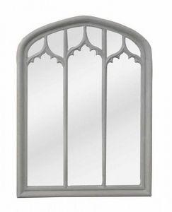 Demeure et Jardin - grande glace grise en triptyque de style gothique - Miroir