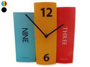 WHITE LABEL - horloge 3 livres décorative et originale noir deco - Horloge À Poser