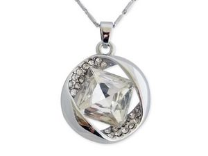 WHITE LABEL - collier pendentif anneau en strass orné d'un faux - Collier