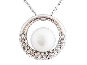 WHITE LABEL - collier pendentif anneau argenté et strass orné d - Collier