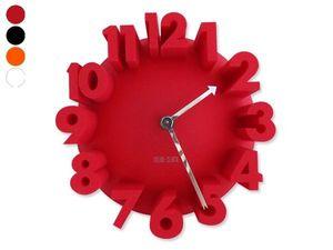 WHITE LABEL - horloge grands chiffres effet 3d orange deco maiso - Horloge Murale