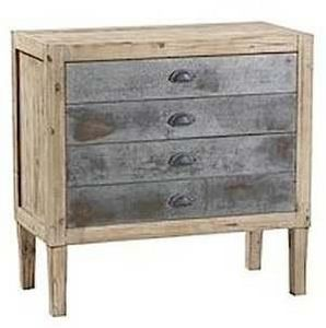 Mathi Design - commode 4 tiroirs bois et zinc - Commode