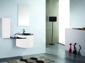 UsiRama.com - meuble sdb design rose laqué blanc et vasque noir - Meuble De Salle De Bains