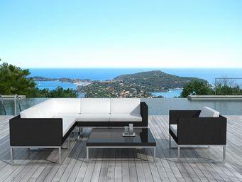 Delorm design - salon de jardin design 7 éléments en résine noire  - Table De Jardin Ronde