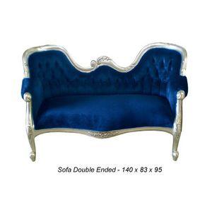 DECO PRIVE - canapé de style double end velours bleu nuit et bo - Canapé 3 Places