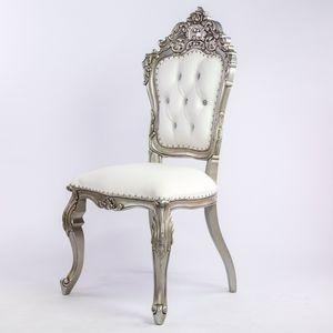 DECO PRIVE - chaise de style bois argenté et aspect cuir blanc  - Chaise Réception