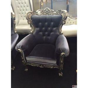 DECO PRIVE - fauteuil en velours gris et bois argenté prince ne - Fauteuil
