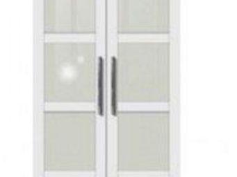 WHITE LABEL - dressing penderie dublin deux portes à battant bla - Armoire Dressing