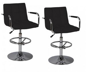 WHITE LABEL - lot de 2 tabourets de bar diamond noir - Chaise Haute De Bar