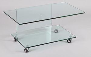 WHITE LABEL - meuble tv télé design step verre trempé double pla - Meuble Tv Hi Fi