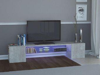 WHITE LABEL - meuble design tv modern b effet b�ton. - Meuble Tv Hi Fi