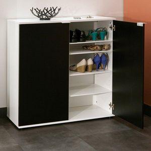 WHITE LABEL - meuble à chaussures class design blanche 2 portes  - Meuble À Chaussures