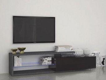 WHITE LABEL - meuble tv4 design treviso effet marbre avec un gra - Meuble Tv Hi Fi