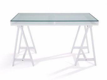 WHITE LABEL - bureau study blanc plateaux en verre trempé - Bureau