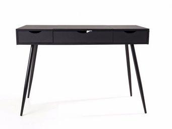 WHITE LABEL - bureau worky2 design 2 tiroirs noir - Bureau