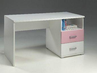 WHITE LABEL - bureau valentine 2 tiroirs blanc et rose - Bureau