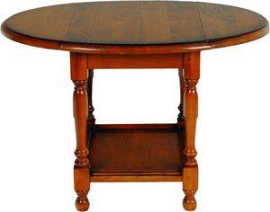 WHITE LABEL - table basse pliante carla en merisier - Table Basse Ronde