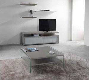WHITE LABEL - table basse bella 2 plateaux gris avec piétement e - Table Basse Carrée