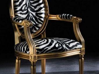 WHITE LABEL - chaise medaillon cleopatra en microfibre zebre - Chaise
