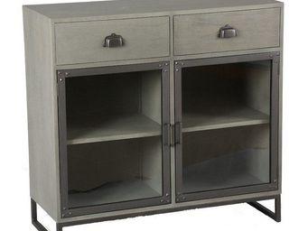 WHITE LABEL - buffet industry c�rus� gris avec 2 tiroirs et 2 po - Buffet Bas