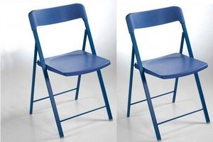 WHITE LABEL - lot de 2 chaises pliantes kully en plastique bleu - Chaise Pliante