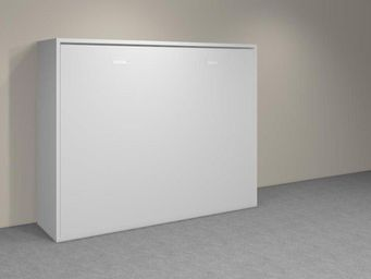 WHITE LABEL - armoire lit transversale agata blanche couchage 14 - Lit Escamotable