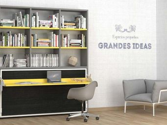 WHITE LABEL - armoire lit transversale ares, grise et jaune avec - Lit Escamotable