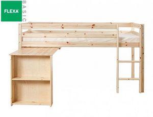 Flexa - lit mi haut flexa avec bureau en pin vernis nature - Lit Mezzanine