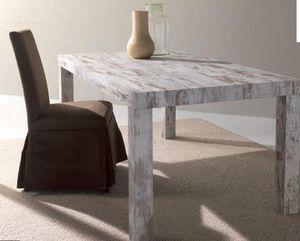 WHITE LABEL - table repas extensible fusion vintage - Table De Repas Rectangulaire
