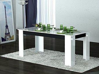 WHITE LABEL - table repas mito blanche et noire - Table De Repas Rectangulaire