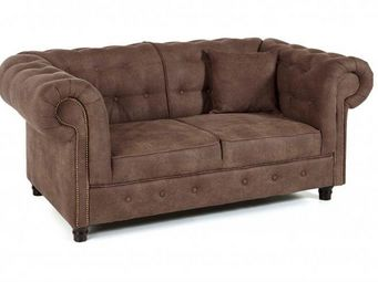WHITE LABEL - canap� fixe 2 places oxford chesterfield marron vi - Canap� Chesterfield