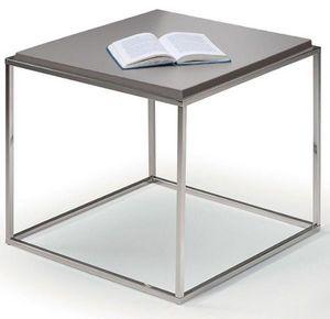 WHITE LABEL - bout de canapé carré mimi gris - Bout De Canapé