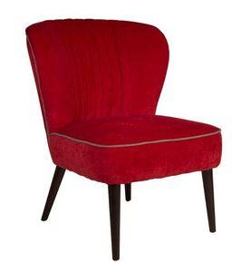 WHITE LABEL - petit fauteuil smoker de dutchbone tissu rouge - Fauteuil