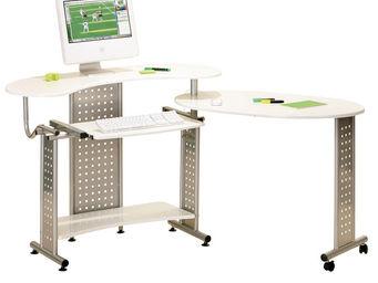 WHITE LABEL - bureau informatique repliable avec rangement blanc - Bureau