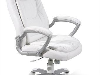 WHITE LABEL - fauteuil de bureau coloris blanc design - Fauteuil De Bureau
