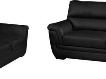 WHITE LABEL - ensemble canapé 3+2 places design coloris noir - Salon