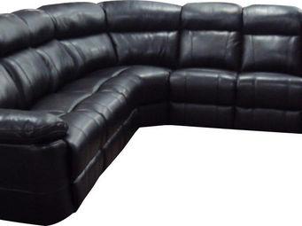 WHITE LABEL - canapé d?angle en cuir avec 2 relax électriques co - Canapé Modulable