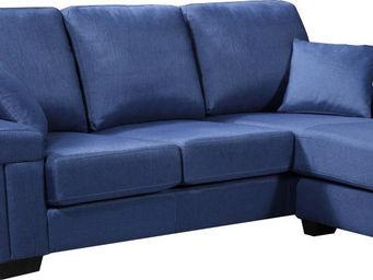 WHITE LABEL - canapé d?angle réversible en tissu coloris bleu - Canapé Modulable