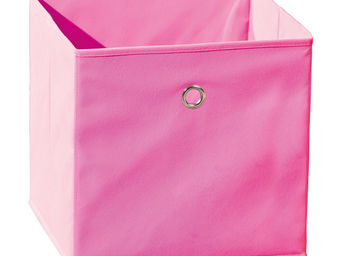 WHITE LABEL - boite de rangement carr� design coloris rose - Caisse De Rangement