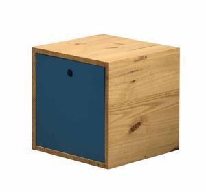 WHITE LABEL - cube de rangement en pin massif avec couvercle ant - Caisse De Rangement