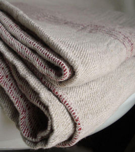 Couleur Chanvre - couvre-lit ray� rouge - Couvre Lit
