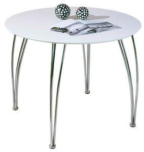 COMFORIUM - table de cuisine blanche laquée et métal - Table De Repas Ronde