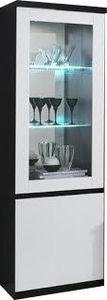 COMFORIUM - vitrine à 1 porte coloris noir et blanc avec led i - Vaisselier