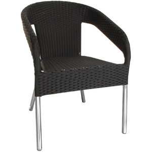 COMFORIUM - lot de 4 fauteuils en osier empilables coloris gri - Fauteuil De Jardin