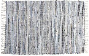 Aubry-Gaspard - tapis en jeans et cuir argenté - Tapis Contemporain