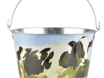 Esschert Design - seau vache en zinc et bois vache - Seau